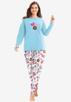 Long Sleeve Knit PJ Set | Woman Within I Love My Mother, Platinum Credit Card, Plus Size Pajamas, Swimsuits For All, Woman Within, Blue Cats, Petite Women, Pj Sets, Beauty Full