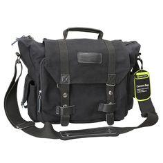 Evecase DSLR Large Canvas Camera and Laptop Case Messenger Bag w/Rain Cover - Black
