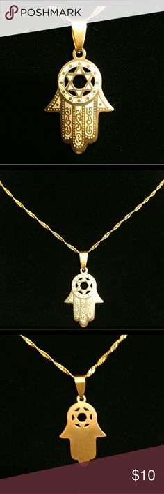 Hamsa Star of David Beautifully engraved Hamsa. Rich gold color will not tarnish nor change. Chain with lobster claw clasp is included. Beautiful Hanukkah gift! The hand measures about 1 inch in length. The necklace is about 20 inches. Jewelry Necklaces