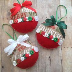 Christmas Burlap Ornaments / Xmas Fabric Ornaments / Xmas