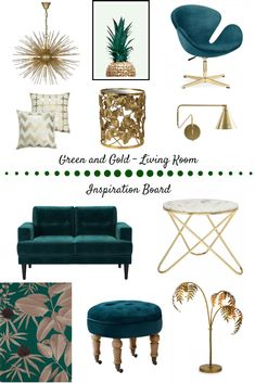 How To Use Dark Green in Your Living Room Green & Gold Living Room Inspo - a mood board for adding dark green in your living room Dark Green Living Room, My Living Room, Living Room Decor Gold, Art Deco Living Room, Colourful Living Room, Interior Desing, Home Interior, Room Colors, Colours