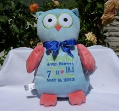 Baby gift embroidered monogrammed owl made in usa exclusively personalized baby gift by worldclassembroidery 3599 owl baby gift negle Choice Image