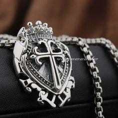 Mens Crosses, Stainless Steel Necklace, Cross Pendant, Sterling Silver Pendants, Biker, Steampunk, Pendant Necklace, Gothic Necklaces, Broken Screen