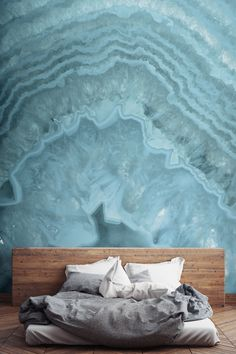 Doze off under a sea of blues with this crystal wallpaper design. Reminiscent of the Aegean Sea, this wall mural will have you day-dreaming about sun-soaked days and help bring a feeling of calm to your bedroom interiors. Simply beautiful.