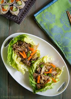 Mu Shu Jackfruit Lettuce Wraps: jackfruit pulled pork with Mu Shu flavors. Vegan, low-fat, and under 100 calories! 1 Smart point on Weight Watchers. Jackfruit Pulled Pork, Clean Eating, Healthy Eating, Eating Well, Healthy Food, Whole Food Recipes, Cooking Recipes, Jackfruit Recipes, Vegetarian Recipes