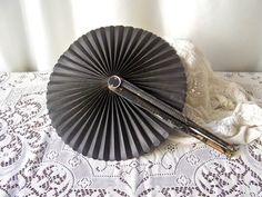 Antique Fan Victorian Mourning Fan Hand Held Fan by cynthiasattic