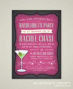 Printable Bachelorette Party Invitation  by AcademyPrint on Etsy