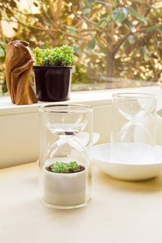 The Livesglass is a miniature planet-saver. It irrigates itself through drip irrigation and creates a greenhouse environment.