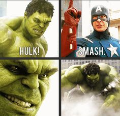 I always have a huge grin on my face when I see this scene in The Avengers! :) <--- I dont know about you guys, but, I can see every pore on Hulks face at the moment