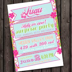 FREE CUSTOM wording,  Luau invitation, luau party invitations, luau birthday invitation