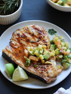 Grilled Swordfish with Smoked Paprika and Herbed Fruit Salsa by foodiecrush: Salmon, tuna or halibut would be fine as well. #Fish #Smoked_Paprika #Fruit_Salsa #Healthy