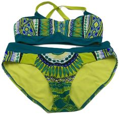 acf81b51aa47 prAna Bikini Zuri Bottom Liliana Top Teal Tribe Large Swimsuit Green Blue  Yellow #prAna #Bikini