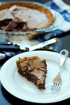 Chocolate Chess Pie with Coconut Graham Cracker Crust