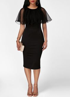 Round Neck Ruffle Overlay Black Sheath Dress on sale only US$35.37 now, buy cheap Round Neck Ruffle Overlay Black Sheath Dress at liligal.com