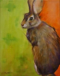 """Rabbit in Green"" original fine art by Rhea Groepper"