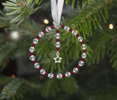 Round Christmas Tree Decoration w. Swarovski Red & Clear Crystals & Hanging Star