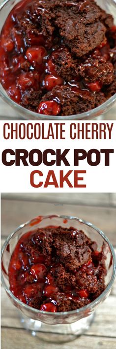 This Chocolate Cherry Crock Pot Cake is one of my favorites for many reasons. A very chocolatey-cherry dessert that you will be craving again soon. Crockpot Cake Recipes, Crock Pot Desserts, Slow Cooker Desserts, Slow Cooker Recipes, Crockpot Ideas, Chocolate Cherry Cake, Easy Chocolate Desserts, Easy Desserts, Delicious Desserts
