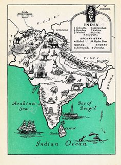 Vintage Map of INDIA, Beautifully Illustrated, Perfect for Framing, Altered Arts, World Atlas, Bombay, Calcutta, Tibet, Nepal. $18.25, via Etsy.