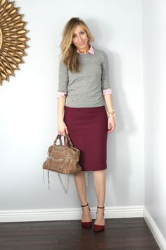 Cute business casual look: layered pink top with gray sweater, burgundy pencil skirt and heels.