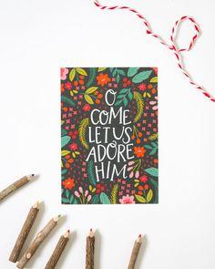 Mano con letras Navidad imprimir - O vienen Let US adoro lo - vacaciones impresión - rotulación de mano - AZ116 - Alexa Z Design - Floral