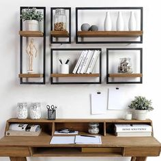 The very decorative teak and metal shelves by D-Bodhi - Economical - metal and wood shelves above desk Decor, Wood Decor, Home Office Furniture, Shelves, Metal Wall Shelves, Home Decor, Metal Shelves, Shelves Above Desk, Shelving