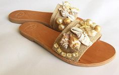 Slip On Sandals Boho sandals Mermaids with Bridal Sandals, Boho Sandals, Shoes Sandals, Jeweled Shoes, Nautical Fashion, Shoe Art, Baby Girl Shoes, Womens Slippers, Heeled Boots