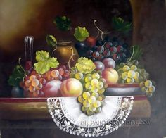 """Impression Framed Painting Reproduction Still Life Fruit Painting, Size: 36"""" x 24"""", $116. Url: http://www.oilpaintingshops.com/impression-framed-painting-reproduction-still-life-fruit-painting-2555.html"""