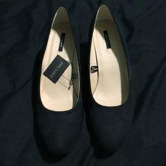 Black suede mini heels NWT Black suede minor heels. Almond toed. Never worn. Size 10. Forever 21 Shoes Heels