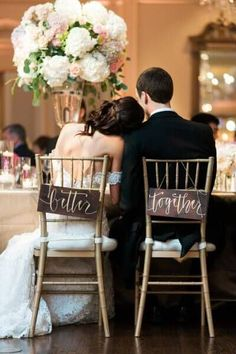 Ultra romantic wedding table decor. Better Together wedding chair back signs and ideas on Mrs2be