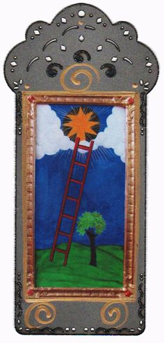 Ladder to Heaven Icon Alchemical Religious Art Print Collage.