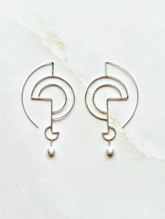 Silver Geometric Earrings, Sculpted Organic Silver Earrings, Modern Earrings Inspired by Lines, Geometric Jewelry for her, Classy Jewelry