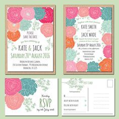 Bright Floral Save the Date 25 5 x 7 Wedding by papertreemedia