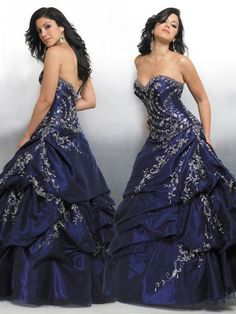 Junior strapless formal with pick up skirt.