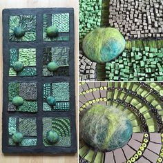 I've not had time to make anything this week so here's a piece I made a couple of years ago. It was exhibited at the Institute for Mosaic Art in Berkeley, CA as part of their Textiles and Tesserae exhibition. #mosaic #mosaicart #greens #glass #ceramictile #smalti #beads #feltedstones #workinginseries #textilesandtesserae #texture