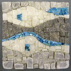 Marble and Smalti mosaic panel: done during a course with Joanna Kessel to learn using the hammer and hardie.  by Tessella Designs.
