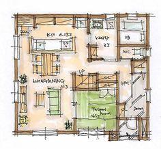 F-ナチュラル 茨城で注文住宅を建てるエフリッジホームです。自然素材を活かした、ナチュラルでおしゃれな家づくりなら、当社にお任せください。 Small House Design, House Layouts, Smart Home, House Plans, Floor Plans, Flooring, How To Plan, Architecture, Arquitetura