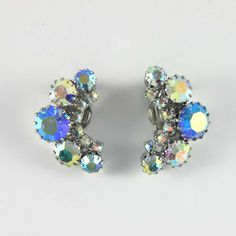 Aurora Borealis blue crescent moon earrings. Available @ www.luluandbelle.com