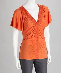 Take a look at this Orange Lace V-Neck Top by Rain on #zulily today!   $29.99, regular 80.00