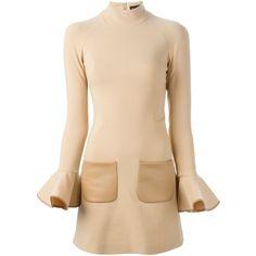 David Koma Flared Sleeve Dress ($1,284) ❤ liked on Polyvore featuring dresses, david koma, stretchy dresses, beige dress, bell sleeve dress and stretch dress