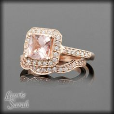 14kt Rose Gold Morganite Engagement Ring with Diamond Contoured Wedding Band - LS2182