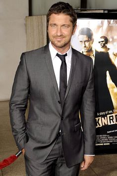 Gerard Butler...love this color tux wish we could find it!