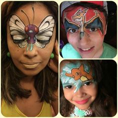 Pokémon Characters Face Paint Designs.
