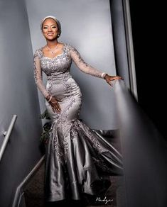 Silver Sexy 2019 African Evening Dresses Lace Mermaid Long Sleeves Prom Dresses Cheap Formal Party B African Evening Dresses, African Lace Dresses, Latest African Fashion Dresses, Mermaid Evening Dresses, Lace Styles For Wedding, Lace Dress Styles, Nigerian Lace Styles, African Lace Styles, Aso Ebi Lace Styles