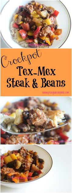 Crock-pot Tex-Mex Steak and Beans - A quick and easy week night meal to throw together; full of tender, juicy steak, black beans, peppers, and onions.