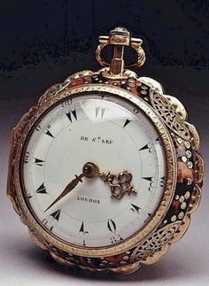 A superb & very rare George III gold pocket watch made 1780 for the Turkish export market signed on the white enamel dial De St Leu London and also signed and numbered on the movement and dust cover 4040 Dan de St Leu Watch Maker to her Majesty London. Antique Watches, Antique Clocks, Vintage Watches, Gold Pocket Watch, Pocket Watch Antique, Amazing Watches, Beautiful Watches, Armani Watches, Luxury Watches