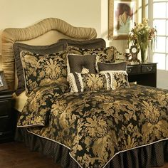 Austin Horn Classics Lismore Black Bedding By Austin Horn Classics Bedding, Comforters, Comforter Sets, Duvets, Bedspreads, Quilts, Sheets, Pillows: The Home Decorating Company
