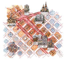 I Viaggi del Sole Barcelona map Barcelona City, Travel Illustration, European Travel, Zine, Spain, Projects To Try, Abstract, Drawings, Spanish 1