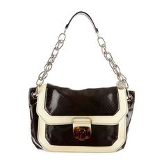 Pre-Owned Lanvin Miami Mm Patent Black Cream Vachette Leather... ($675) ❤ liked on Polyvore featuring bags, handbags, shoulder bags, black, real leather purses, leather handbags, genuine leather shoulder bag, perforated handbags and genuine leather handbags