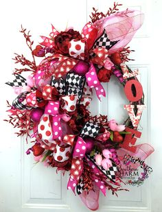 Deco Mesh Valentines Ribbon Wreath in Hot Pink, Red, Black with Tulips and LOVE sign -Door Wreath -Valentines Day Decor -Deco Mesh Wreath by www.southerncharmwreaths.com
