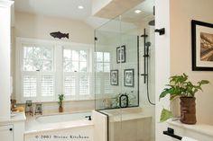 Cape Cod Master Bath contemporary bathroom -tub/shower layout.